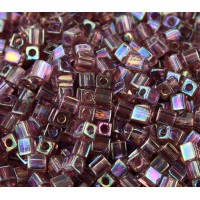 4mm Miyuki Square Beads, Rainbow Light Amethyst, 10 Gram Bag