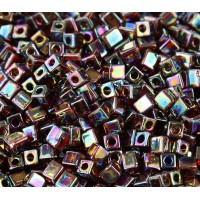 4mm Miyuki Square Beads, Rainbow Amber, 10 Gram Bag