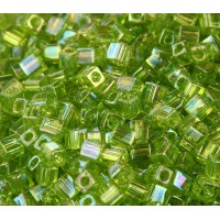 4mm Miyuki Square Beads, Rainbow Lime Green, 10 Gram Bag