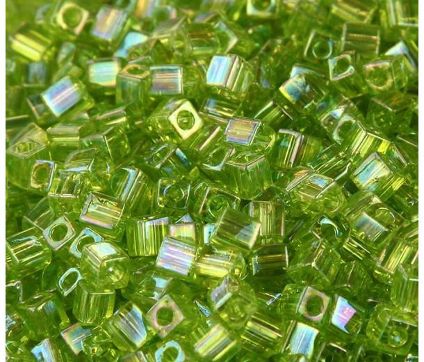 4mm Miyuki Square Beads, Rainbow Lime Green, 10 Gram Bag