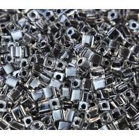 4mm Miyuki Square Beads, Black Lined Crystal, 10 Gram Bag