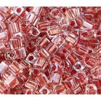 4mm Miyuki Square Beads, Old Rose Lined Crystal, 10 Gram Bag