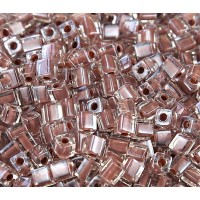 4mm Miyuki Square Beads, Light Copper Lined Crystal, 10 Gram Bag