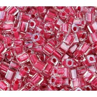 4mm Miyuki Square Beads, Pink Lined Crystal, 10 Gram Bag