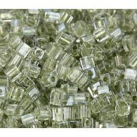 4mm Miyuki Square Beads, Celery Lined Crystal