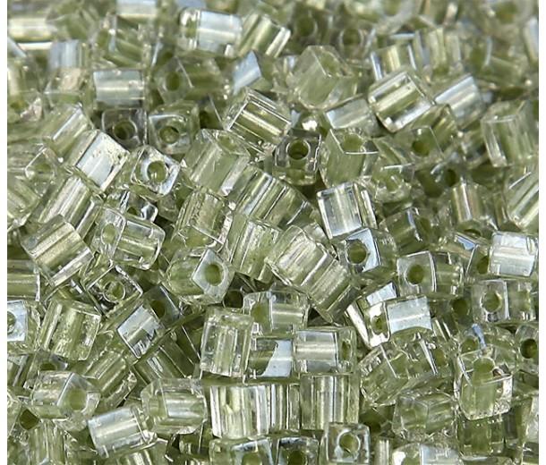 4mm Miyuki Square Beads, Celery Lined Crystal, 10 Gram Bag