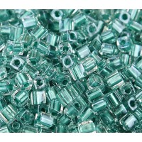 4mm Miyuki Square Beads, Teal Lined Crystal, 10 Gram Bag
