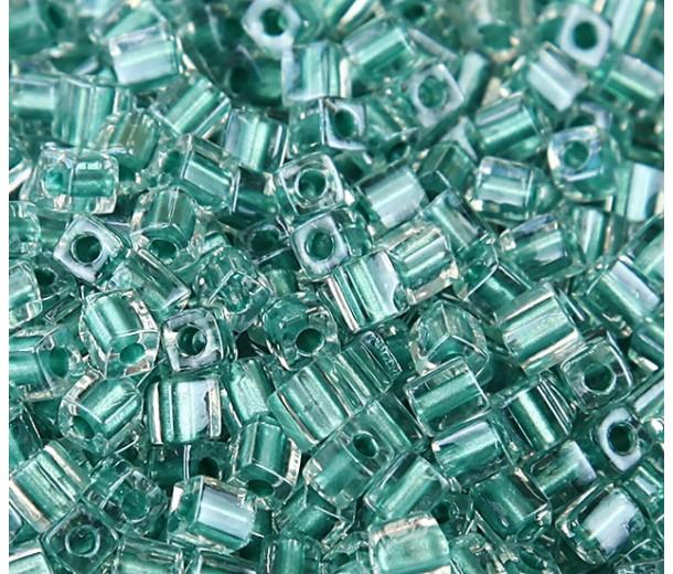 4mm Miyuki Square Beads, Teal Lined Crystal, 10 Gram Bag