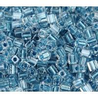 4mm Miyuki Square Beads, Light Blue Lined Crystal, 10 Gram Bag