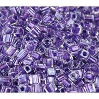 4mm Miyuki Square Beads, Purple Lined Crystal, 10 Gram Bag