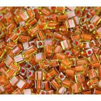 4mm Miyuki Square Beads, Pumpkin Lined Peridot, 10 Gram Bag