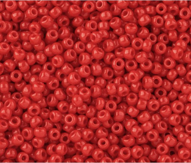 11/0 Toho Round Seed Beads, Opaque Cherry, 10 Gram Bag