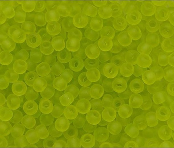 11/0 Toho Round Seed Beads, Frosted Transparent Lime Green