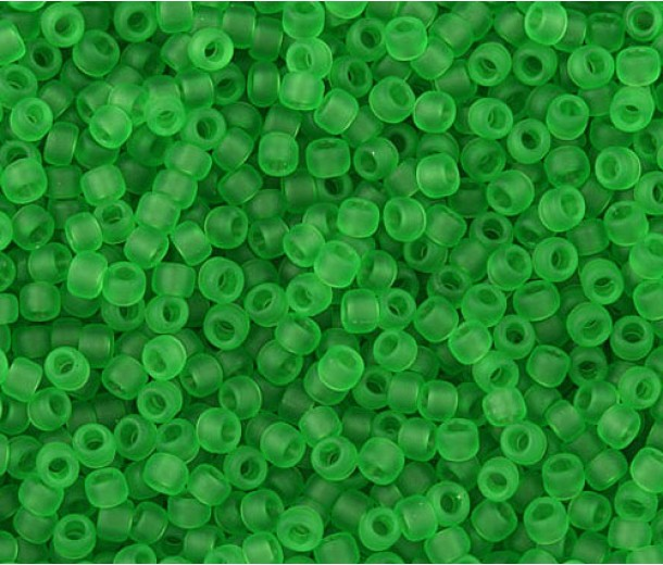 11/0 Toho Round Seed Beads, Frosted Transparent Peridot, 10 Gram Bag