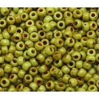 11/0 Toho Round Seed Beads, Hybrid Sour Apple Picasso, 10 Gram Bag