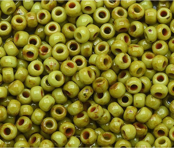 11/0 Toho Round Seed Beads, Hybrid Sour Apple Picasso