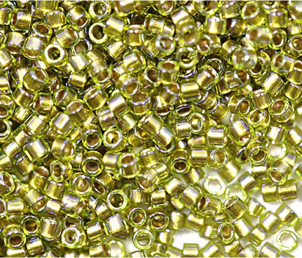 11/0 Toho Treasure Seed Beads, Gold Lined Rainbow Peridot