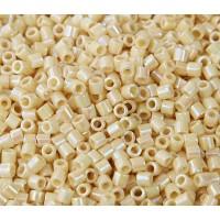 8/0 Miyuki Delica Seed Beads, Rainbow Opaque Cream, 10 Gram Bag