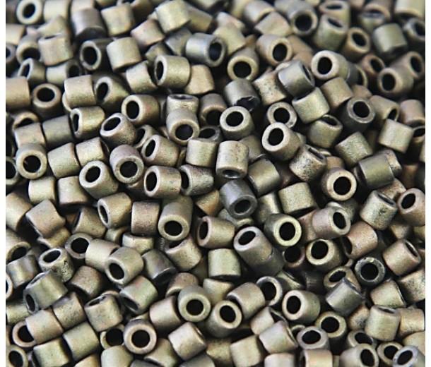 8/0 Miyuki Delica Seed Beads, Matte Metallic Dark Olive, 10 Gram Bag