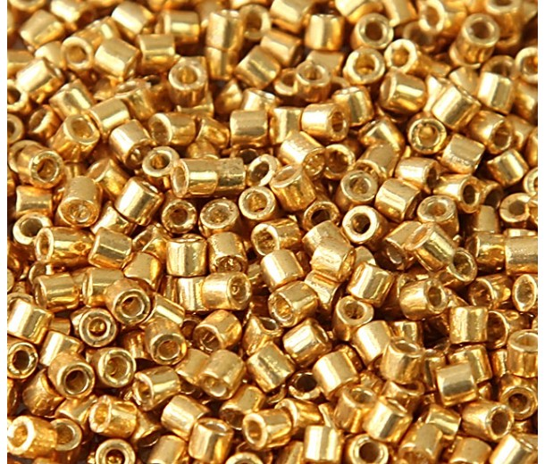 8/0 Miyuki Delica Seed Beads, Duracoat Galvanized Gold, 6.8 Gram Tube