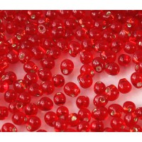 3.4mm Miyuki Drop Beads, Silver Lined Red