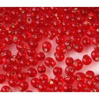 3.4mm Miyuki Drop Beads, Silver Lined Red, 10 Gram Bag