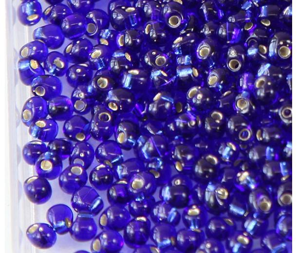 3.4mm Miyuki Drop Beads, Silver Lined Cobalt Blue, 10 Gram Bag