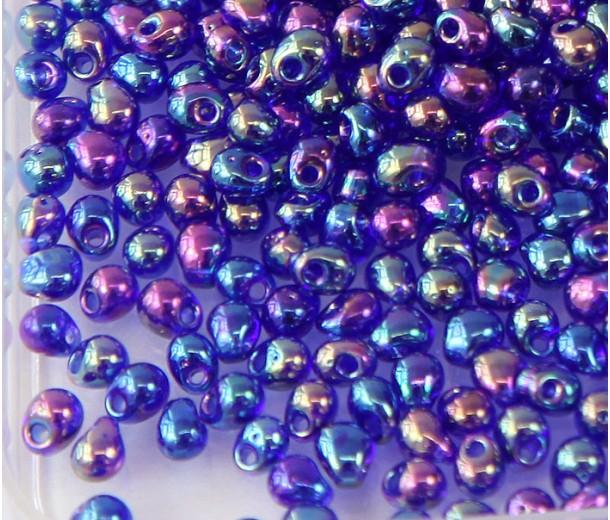 3.4mm Miyuki Drop Beads, Rainbow Cobalt Blue, 10 Gram Bag