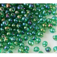 3.4mm Miyuki Drop Beads, Rainbow Green, 10 Gram Bag