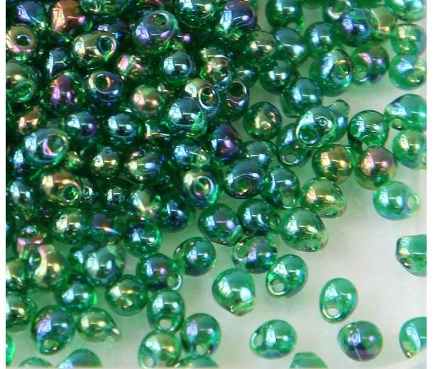 3.4mm Miyuki Drop Beads, Rainbow Green, 10 Gram Bag