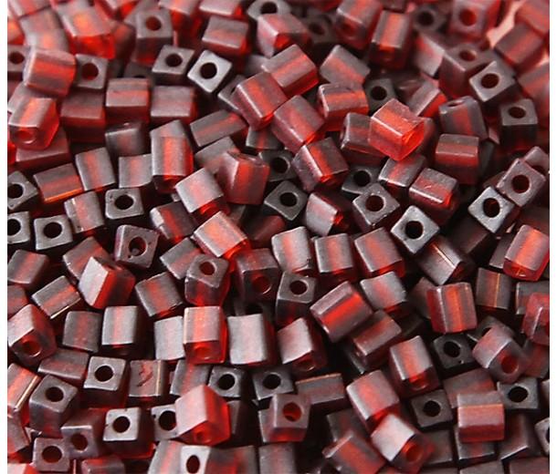 4mm Miyuki Square Beads, Matte Amber, 10 Gram Bag