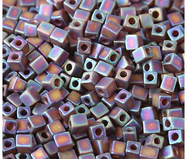 4mm Miyuki Square Beads, Matte Rainbow Amber, 10 Gram Bag