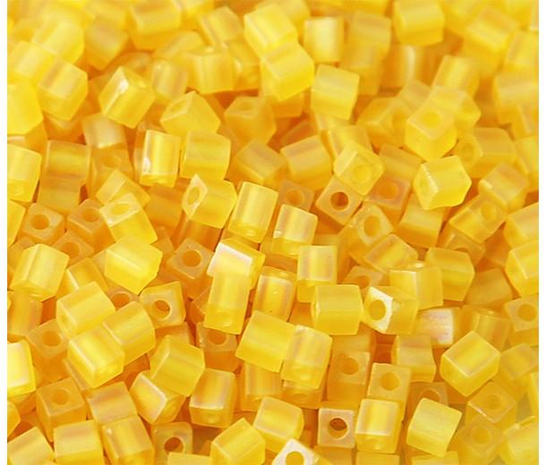 4mm Miyuki Square Beads, Matte Yellow, 10 Gram Bag