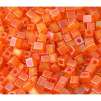 4mm Miyuki Square Beads, Matte Rainbow Orange, 10 Gram Bag