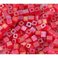 4mm Miyuki Square Beads, Matte Rainbow Red, 10 Gram Bag