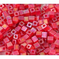4mm Miyuki Square Beads, Matte Rainbow Red, 10 Gram Bag