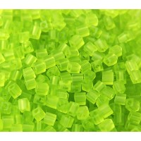 4mm Miyuki Square Beads, Matte Lime Green, 10 Gram Bag
