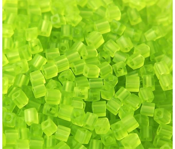 4mm Miyuki Square Beads, Matte Lime Green, 10 Gram Bag