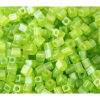 4mm Miyuki Square Beads, Matte Rainbow Lime Green, 10 Gram Bag