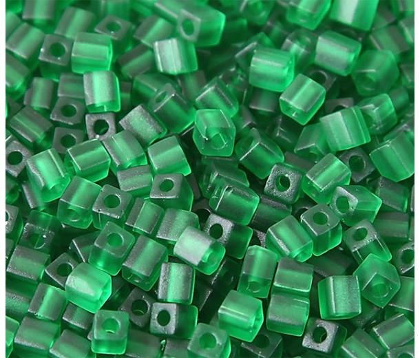 4mm Miyuki Square Beads, Matte Green, 10 Gram Bag