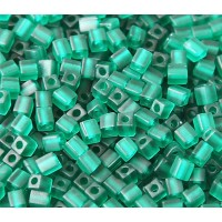 4mm Miyuki Square Beads, Matte Dark Green, 10 Gram Bag
