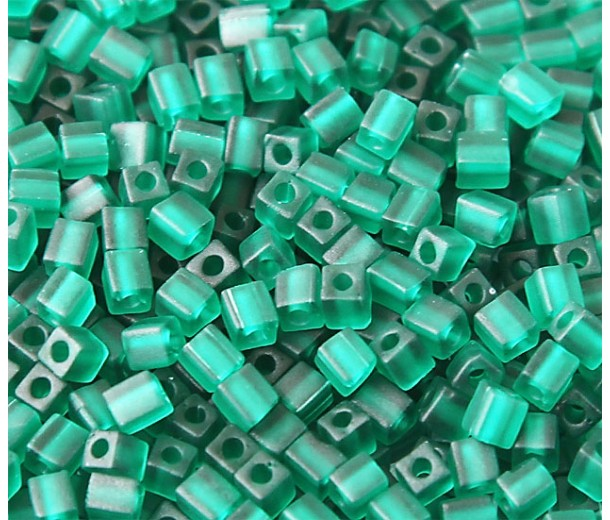 4mm Miyuki Square Beads, Matte Dark Green, 10 Gram Bag