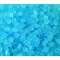 4mm Miyuki Square Beads, Matte Sky Blue, 10 Gram Bag