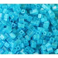 4mm Miyuki Square Beads, Matte Rainbow Sky Blue, 10 Gram Bag