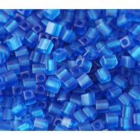 4mm Miyuki Square Beads, Matte Cobalt Blue, 10 Gram Bag