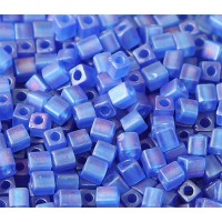 4mm Miyuki Square Beads, Matte Rainbow Cobalt, 10 Gram Bag