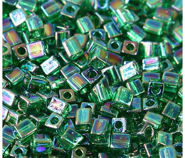 4mm Miyuki Square Beads, Rainbow Green, 10 Gram Bag