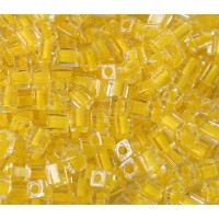 4mm Miyuki Square Beads, Bright Yellow Lined Crystal, 10 Gram Bag