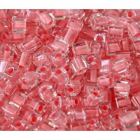 4mm Miyuki Square Beads, Grapefruit Pink Lined Crystal, 10 Gram Bag