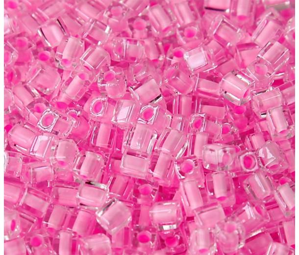 4mm Miyuki Square Beads, Pink Lined Crystal, 10 Gram Bag